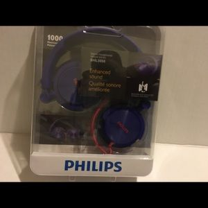 Purple Philips stereo headphones enhanced sound